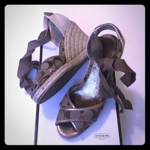 Coach tan beige espadrille wedge heels 7 with box